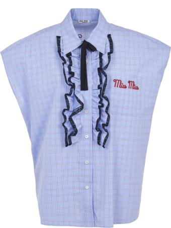 Miu Miu Logo Sleeveless Detail Shirt