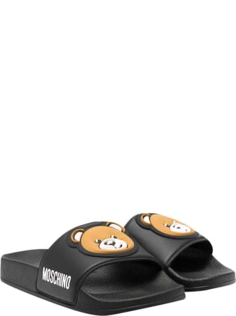 Moschino Teen Black Slippers