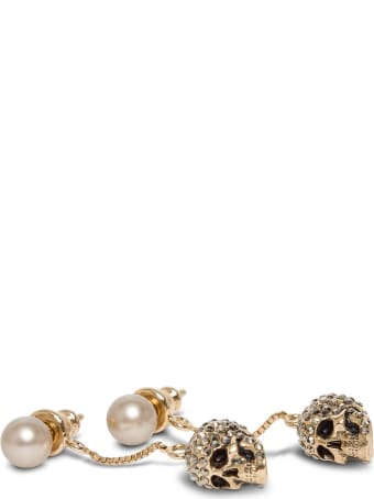 Alexander McQueen Skull Earrings With Pavé And Chain