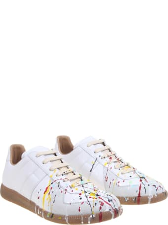 Maison Margiela Leather Sneakers With Pollock Detail