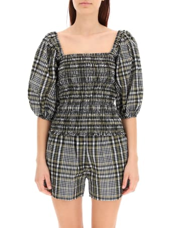 Ganni Check Cropped Top