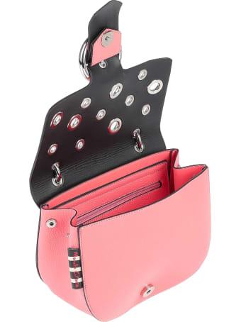 Manila Grace Pink Allover Eyelet Shoulder Bag
