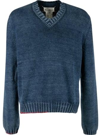 Maison Margiela Stitching Details V-neck Sweatshirt