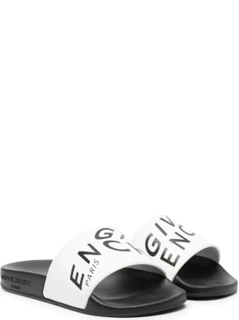 Givenchy White And Black Rubber Sandals