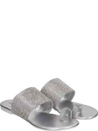 Jeffrey Campbell Jema Flats In Silver Tech/synthetic