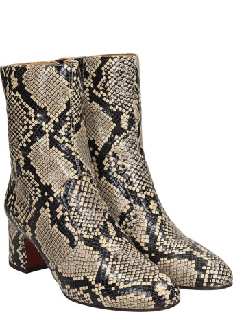 Chie Mihara Na-naylon  High Heels Ankle Boots In Animalier Leather