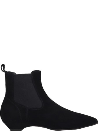 Janet & Janet Ankle Boots In Black Suede