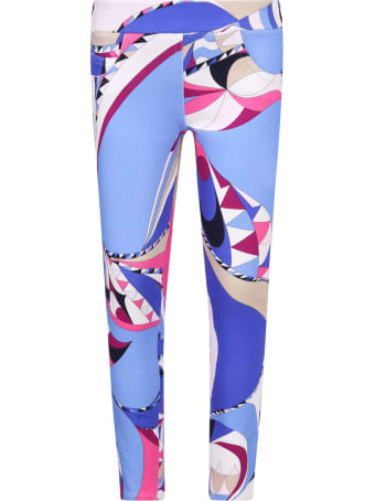 Emilio Pucci Light Blue Girl Leggings With Iconic Print