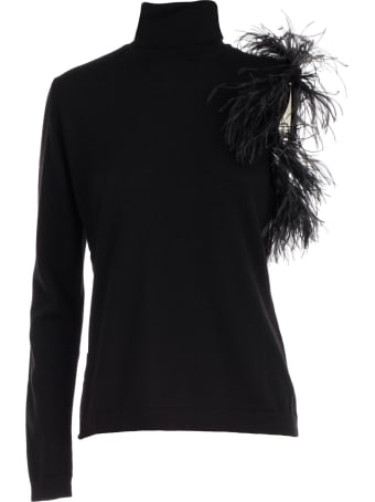 Parosh Sweater Turtle Neck Sleeve W/plumes