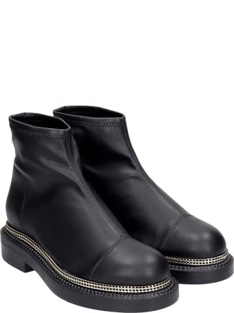 Grey Mer Combat Boots In Black Leather