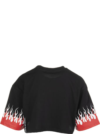 """Vision of Super Woman Black """"double Flames"""" Cropped T-shirt"""