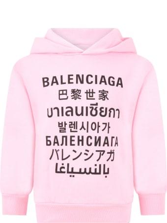Balenciaga Pink Sweatshirt For Kids With Logos