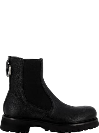 Rocco P. Black Leather Ankle Boots