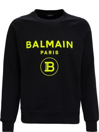 Balmain Cotton Sweatshirt With Fluo Logo Print