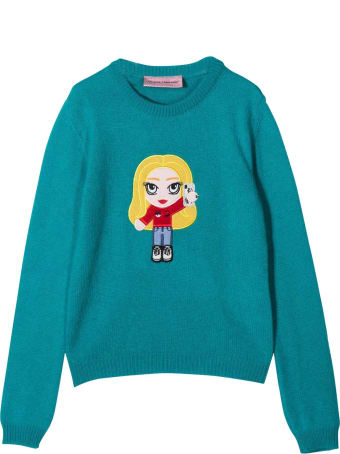 Chiara Ferragni Blue Cashmere-wool Blend Teen Knitted Embroidered Motif Jumper From