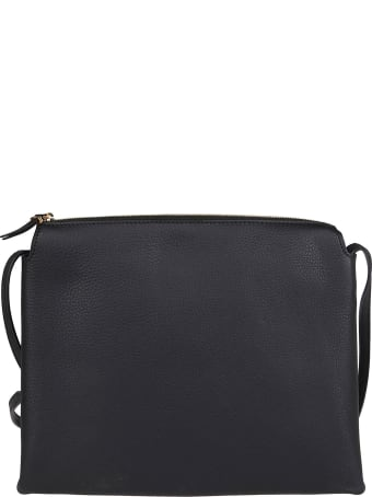 The Row Black Leather Nu Twin Shoulder Bag
