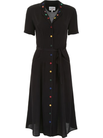 HVN Maria Dress With Embroidered Fruit