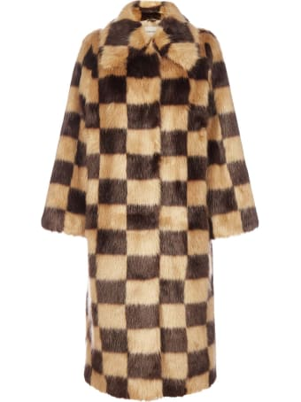 STAND STUDIO Nino Check-motif Faux-fur Coat