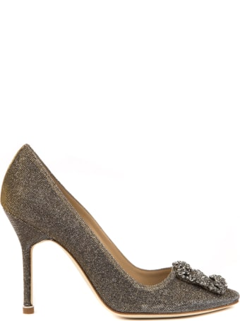 Manolo Blahnik Hangisi Dark Gold Cotton Pumps
