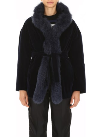 Ava Adore Velvet Coat With Fox Fur