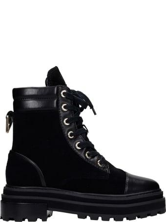 Schutz Combat Boots In Black Leather