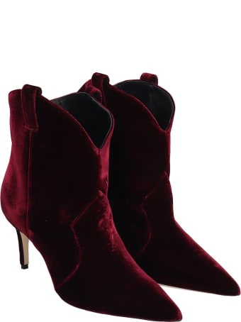 Dei Mille High Heels Ankle Boots In Bordeaux Velvet