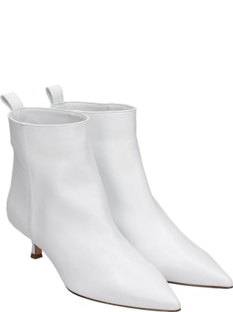 Anna F. Low Heels Ankle Boots In White Leather