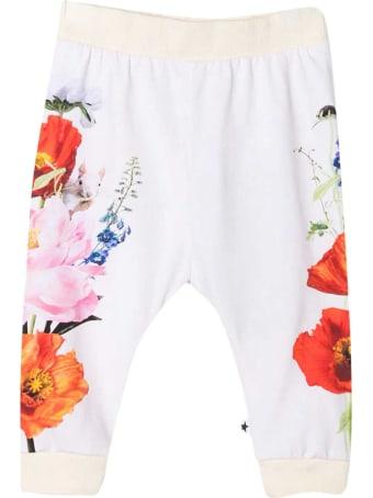 Molo White Trousers With Multicolor Print