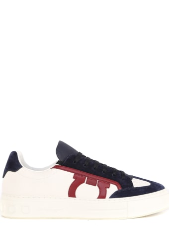 Salvatore Ferragamo Multicolor Leather Sneakers With Suede Details