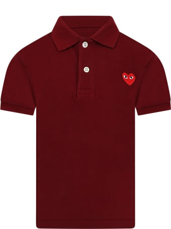 Comme des Garçons Play Burgundy Polo T-shirt For Kids With Logo