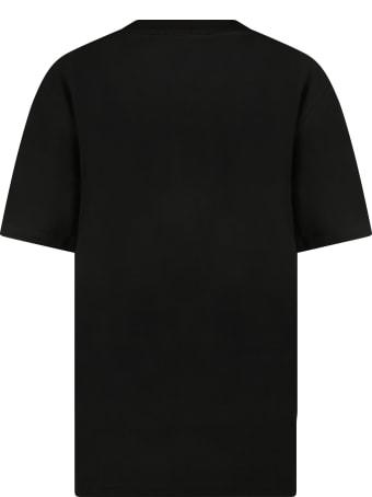 Ralph Lauren Black T-shirt For Kids With Blue Pony Logo