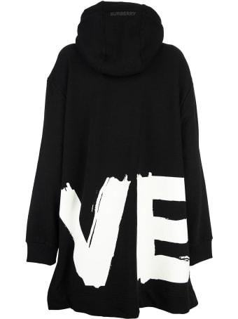 Burberry Love Print Cotton Oversized Hoodie Aurore Love
