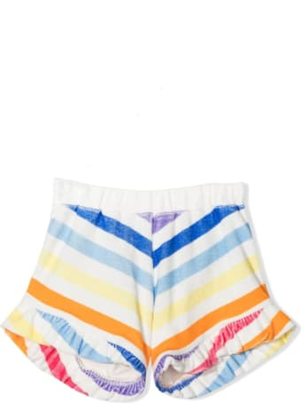 Douuod Striped Shorts With Rouches