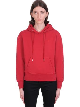 Ami Alexandre Mattiussi Sweatshirt In Red Cotton