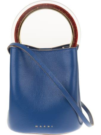 Marni Blue Leather Tote Bag