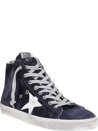 Golden Goose Blue Leather Sneakers