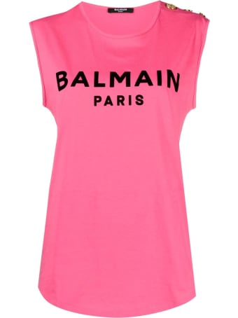 Balmain Fucsia And Black Cotton T-shirt