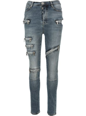 Ben Taverniti Unravel Project Unravel Moonwash Multi-zip Skinny Jeans