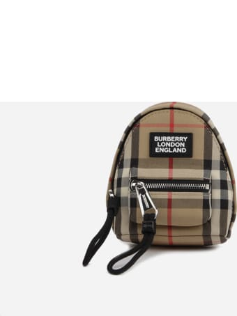 Burberry Cotton Blend Backpack Charm With Vintage Check Pattern