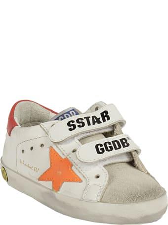 Golden Goose Old School Leather Upper Stripe And Heel Crack Lea