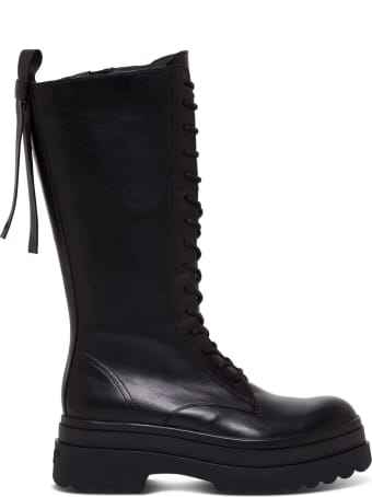 RED Valentino Shiny Black Leather Ankle Boot