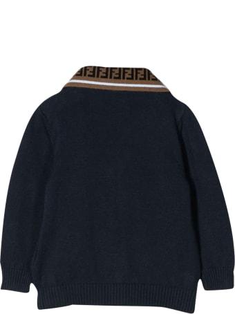 Fendi Blue Cardigan With Logo