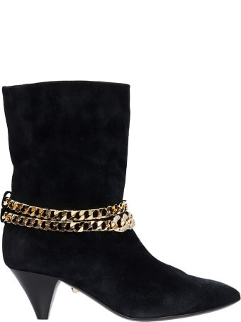Alevì Futura 055 High Heels Ankle Boots In Black Suede