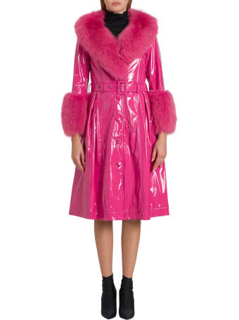 Saks Potts Long Belted Patent Leather Coat With Fox Fur Trimming