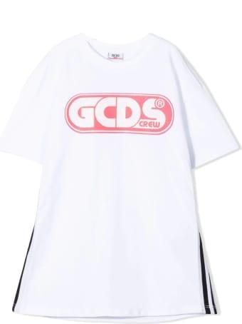 GCDS White Cotton T-shirt Dress