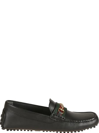 Gucci Gg Horsebit Web-striped Loafers