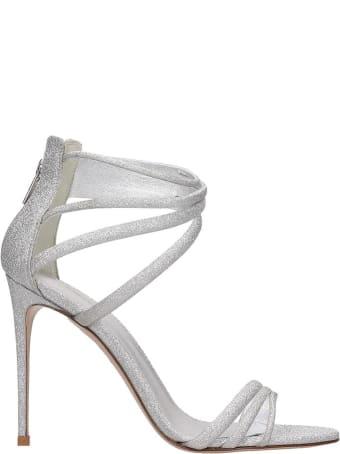 Le Silla Sandals In Silver Glitter