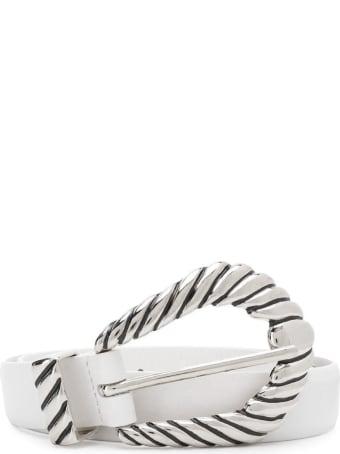 Alberta Ferretti White Smooth Calfskin Belt