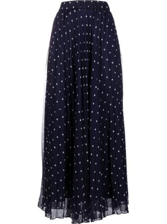 Parosh Pleated Blue Polka Dot Long Skirt