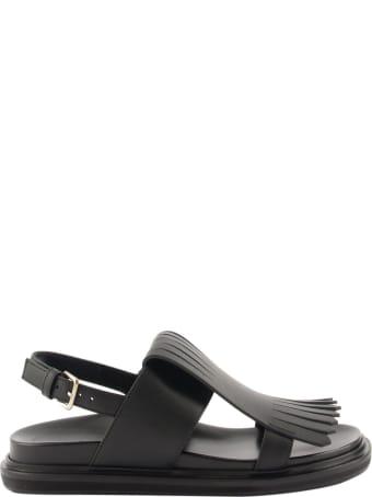 Marni Fringed Fussbett In Calfskin Black Sandals